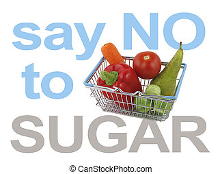 Say NO to SUGAR - Mini shopping basket containing a pear,...