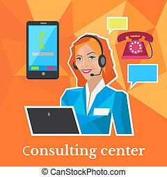 Consulting Center Flat Design Concept - Consulting center...
