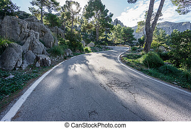 Mountain road with curves - Wide angle view mountain with...