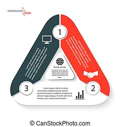 Infographic template in form triangle can be used for presentation, web design, diagram, numbers options