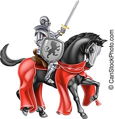 Knight on Horse - A knight holding a sword and shield on the...