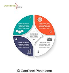 Infographic circle template for business project or presentation. Vector illustration can be used for web design, workflow or graphic layout, diagram, education