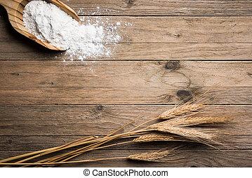 Ear wheat - Ear grains on wood table