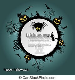Halloween background  with  graveyard, witch, pumpkin, bats and text place