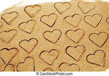 love - hearts drawn on the sand