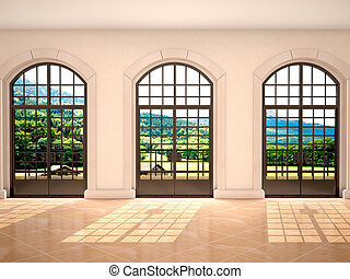 3d illustration of large arched windows with a view of nature
