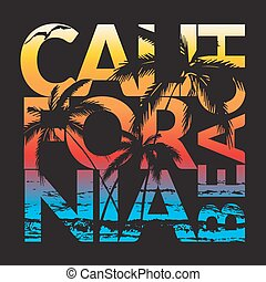 ca beach design - California beach Typography Graphics....