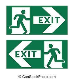 exit sign green - Exit sign. Emergency fire exit door and...