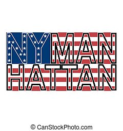 NYC Manh color - New York Manhattan typography on background...