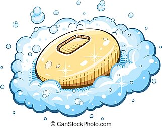 Soap in foam. Eps10 vector illustration. Isolated on white...