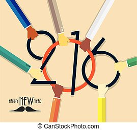 2016 Happy New Year creative background with hands for your greetings card, flyers, invitation, business, posters, brochure, banners, cover, promotion