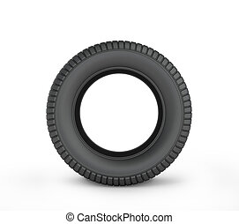 Black rubber car tire on a white background