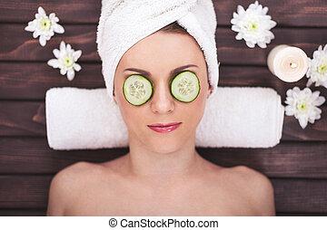 Beautiful girl at spa