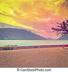 Embankment of the Lake Brienzer in Switzerland at Sunset,