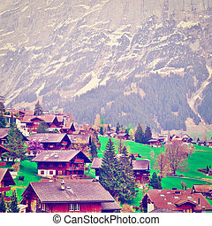 Small Town - The Small Town High Up in the Swiss Alps,...