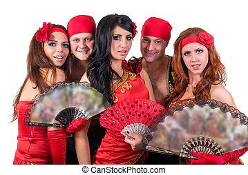 Llevando, tradicional, bailarín, equipo,  Flamenco, vestidos