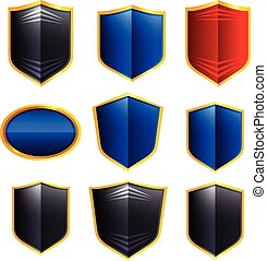 Metal badges set