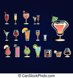 Popular alcoholic cocktails and other drinks Vector set