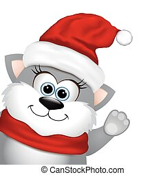 Funny Christmas cat. - Funny Christmas cat on a white...