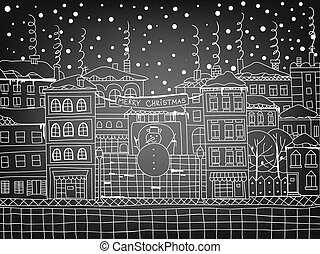 Doodle winter town with snowman,falling snow and houses with...