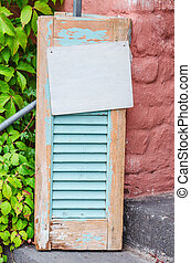 Old wooden window shutter - Age decorative weathered wooden...