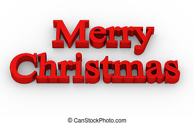 3d text of Merry Christmas