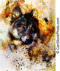 Wolf painting, color background, multicolor illustration. -...