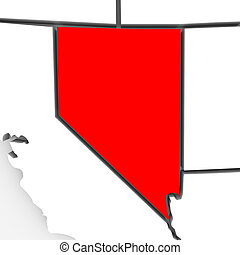 Nevada - Abstract State Map - A 3d rendered map of the state...