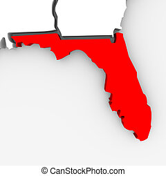 Florida - Abstract State Map - A 3d render of a map of the...