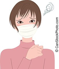 sick woman  in a protective mask