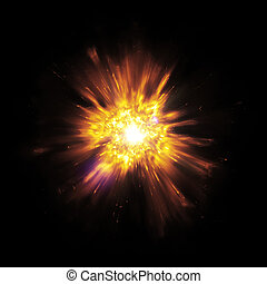 big bang - An image of a great explosion with flying sparks