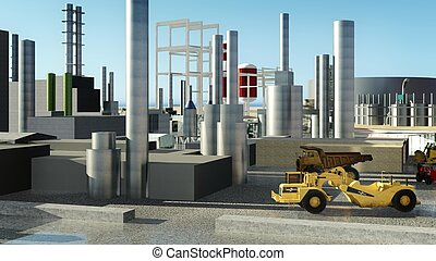 Machines at oil refinery - Refinery with machines at sunset