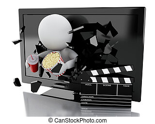 white people with 3d television, clapper board, popcorn and...