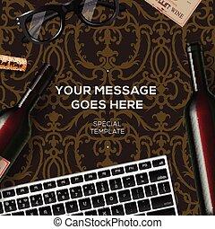 Bottles of red wine on damask vintage background