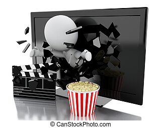 white people with 3d television, popcorn and clapper board -...