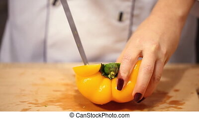 cutting fresh pepper, preparation for cooking