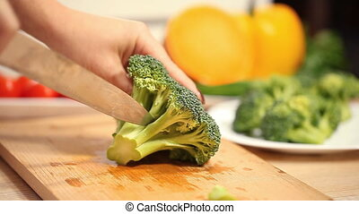 preparation of fresh broccoli for cooking