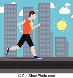 Man running in city.eps