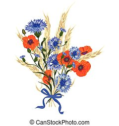 Beautiful bouquet of cornflowers, poppies and wheat...