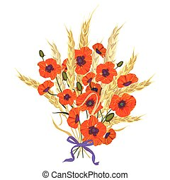 Beautiful bouquet of poppies and wheat spikelets, tied with...