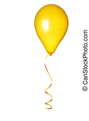 yellow ballon on white background