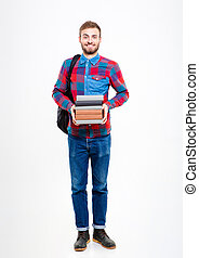 Full length portrait of a happy man holding books isolated...