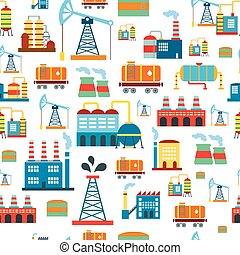 Industrial seamless pattern with oil and petrol icons. Extraction  refinery facilities.