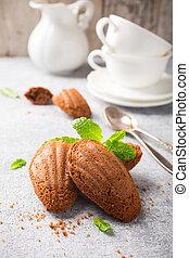 Homemade chocolate cookies Madeleine with mint Holidays food...