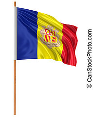 3D Andorra flag with fabric surface texture White background...