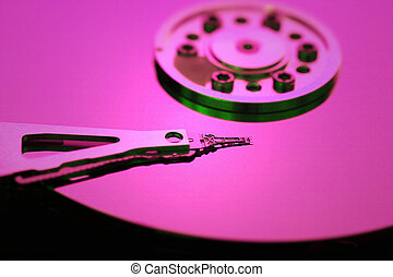 Hard disk detail with a red light
