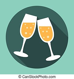 Glasses of Champagne Icon. Editable EPS vector format