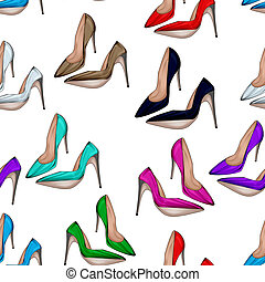 Seamless pattern stiletto heels - Seamless Pattern - All...