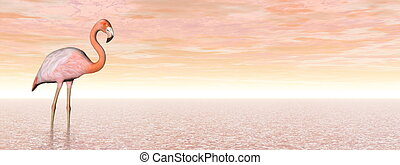Pink flamingo - 3D render - One pink flamingo standing in...