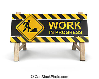 Work in progress sign Image with clipping path